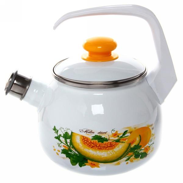 Чайник эмалированный 2,5л со свистком ″Дынный фреш″ С-2711АП/4 купить оптом и в розницу