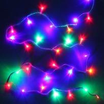 Гирлянда светодиодная 2,4м, 24 ламп LED, Мультицвет, 8 реж, прозр.пров. купить оптом и в розницу