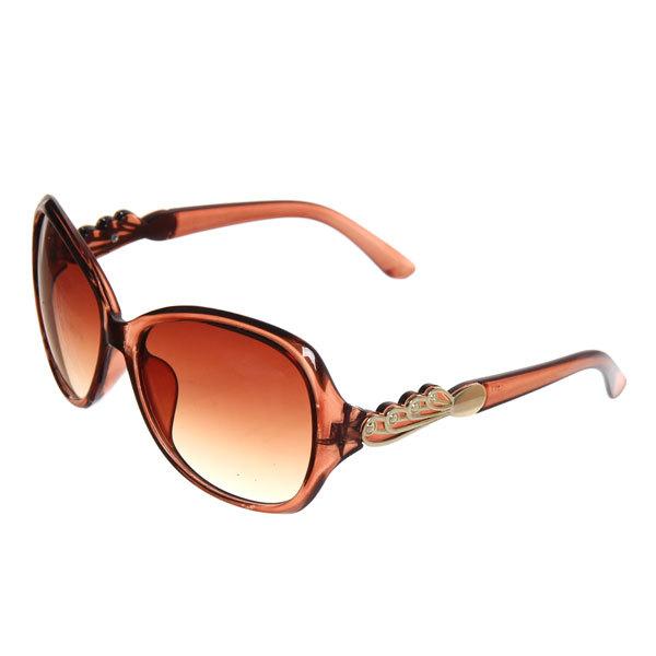 Очки солнцезащитные женские, форма бабочка ″Роскошь″, цвет янтарь, на душке узор купить оптом и в розницу