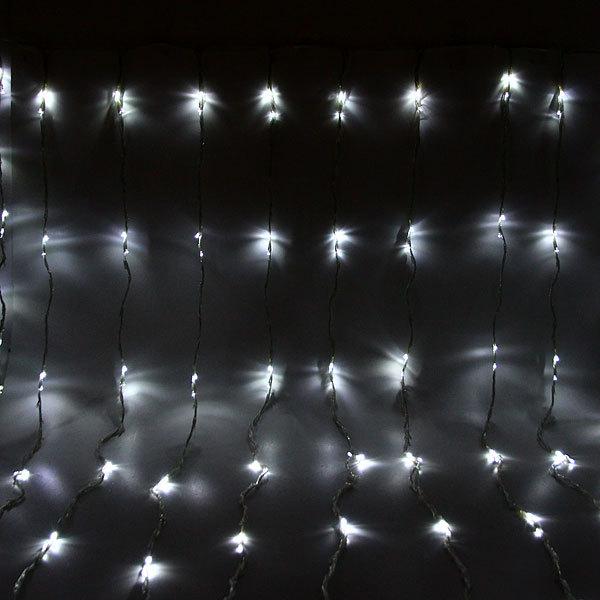Занавес светодиодный ш 2 * в 2,5м, 672 лампы LED, ″Водопад″, Белый, 8 реж, прозр.пров. купить оптом и в розницу