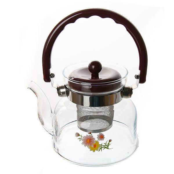 Чайник заварочный стеклянный 800 мл ″Букет″ купить оптом и в розницу