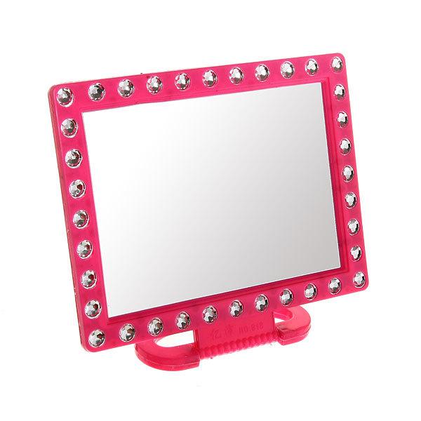 Зеркало настольное в пластиковой оправе ″Белые выемки″ прямоугольник, подвесное 18*14см купить оптом и в розницу