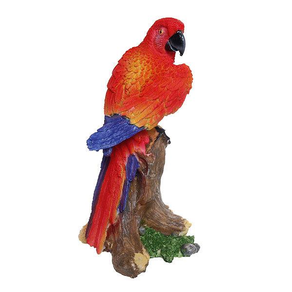 Садовая фигура ″Попугай на пеньке″, полистоун, 30*20 см купить оптом и в розницу