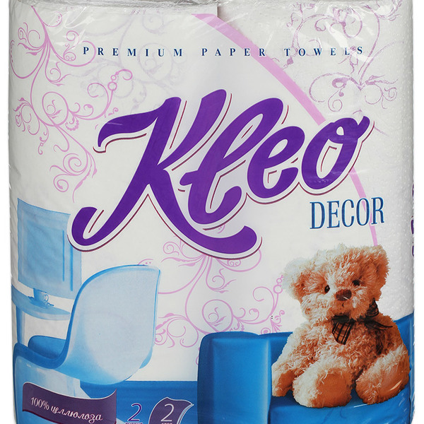Полотенца бумажные 2сл. ″Ь″ Kleo Decor с рисунком, голубое тиснение, перфорация 48л (С120) купить оптом и в розницу