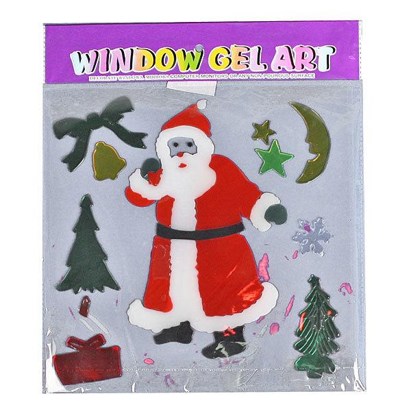 Наклейка на стекло 26*31 ″Дед мороз с елочками″ 10 пред А188 купить оптом и в розницу