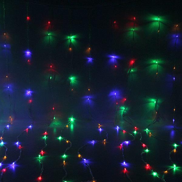 Занавес светодиодный ш 2 * в 3м, 480 ламп LED, Мультицвет, 8 реж, прозр.пров. купить оптом и в розницу