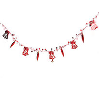 Бусы на ёлку красные 1,5м ″Колокольчики, сосульки и звездочки″ купить оптом и в розницу