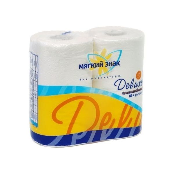 Бумага туалетная 2сл 4рул. ″Deluxe″ белая купить оптом и в розницу