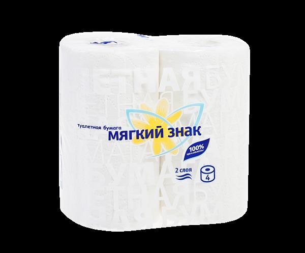 Бумага туалетная 2сл 4рул. ″Мягкий знак″ Буквы белая купить оптом и в розницу
