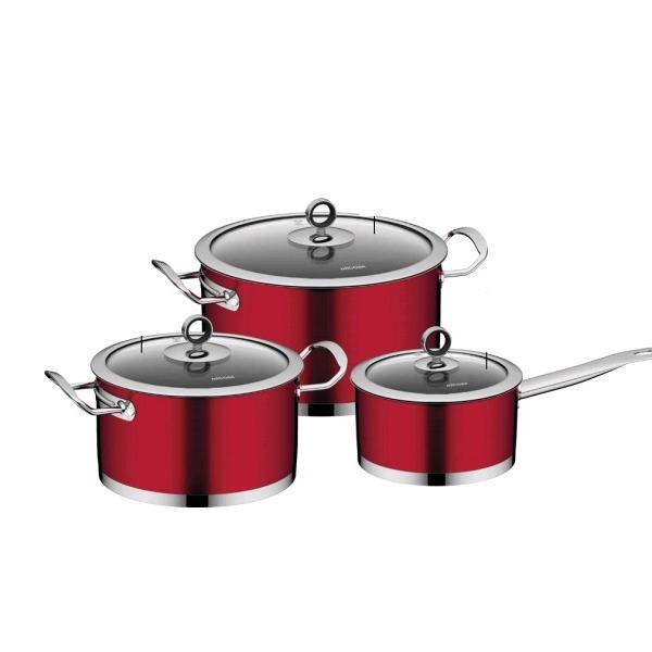 Набор наплитной посуды из нержавеющей стали, 6 пр., NADOBA, серия CERVENA купить оптом и в розницу