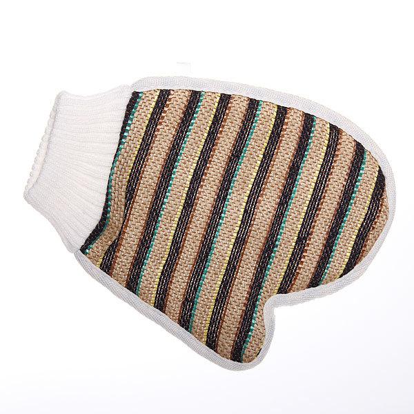 Мочалка-варежка для тела мягкая ″Банька″ полоски с манжетом 14*9см купить оптом и в розницу
