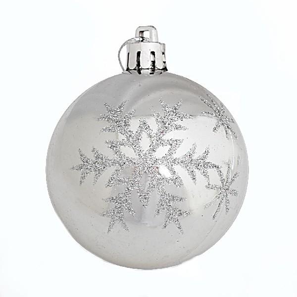 Новогодние шары ″Снежинка″ 6см (набор 6шт.) купить оптом и в розницу