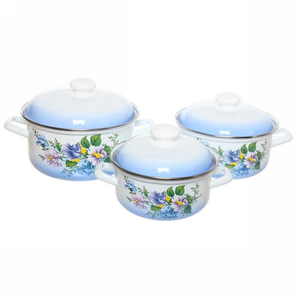 Набор посуды эмалированной 3 предмета ″Полевые цветы″ (1,5л, 2л, 3л ) С-124АП2/7 купить оптом и в розницу
