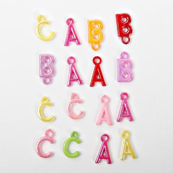 Бусины цветные Буквы 144шт по 12шт в тубе d-15мм 364-2 купить оптом и в розницу