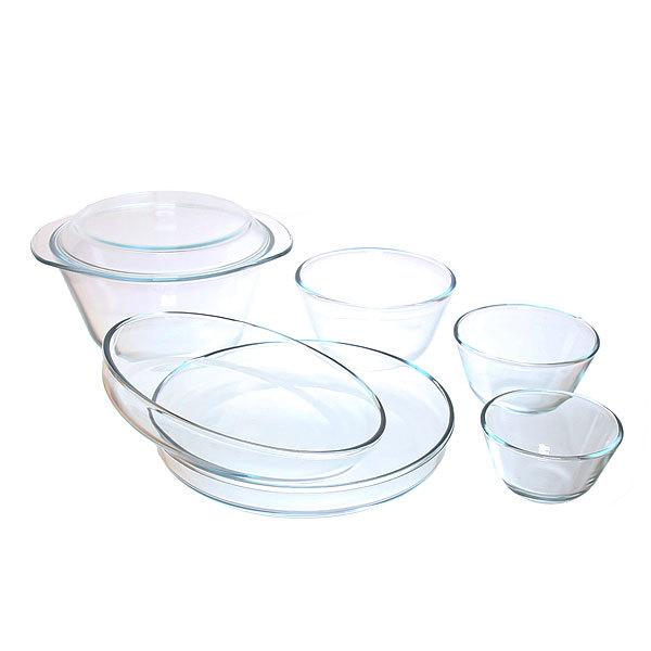 Набор посуды из жаропрочного стекла″HELPER″ 7 предметов (миски 0,4л;0,65л;1,25л;3,0л; тарелка-крышка; лотки для запекания 260*45,280*45) купить оптом и в розницу