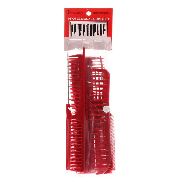 Расчески в наборе 10шт, упаковка косметичка, цвет красный купить оптом и в розницу