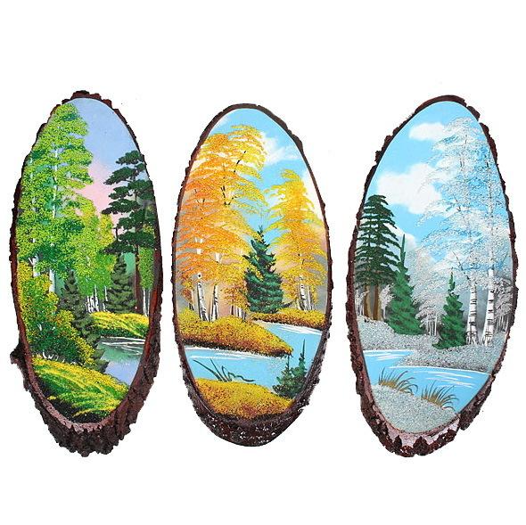 Панно из натурального камня на срезе дерева 45-49 см купить оптом и в розницу