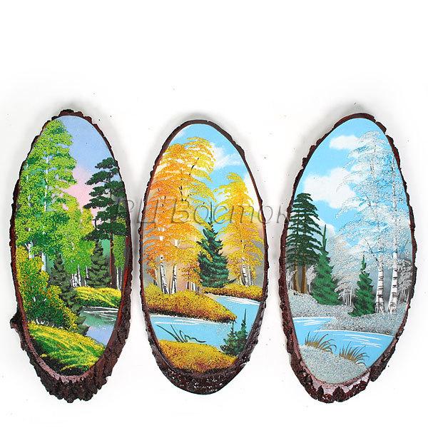 Панно из натурального камня на срезе дерева 45-49 см (Р) купить оптом и в розницу