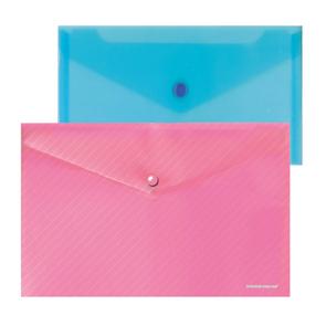 Папка-конверт с кноп.С6 180мк Erich Krause ENVELOPE диагональ, прозр., ассорти купить оптом и в розницу