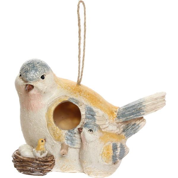Декоративный скворечник ″Семейство снегирей″, полистоун, 24*20 см купить оптом и в розницу