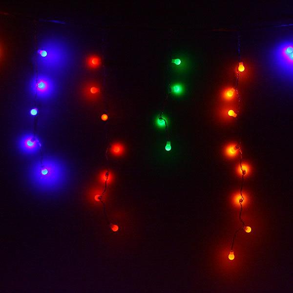 Бахрома светодиодная 3 х 0,3/0,4/0,5м, 96 ламп LED, Шар, Мультицвет,без реж,прозр.пров,с возм.соед купить оптом и в розницу