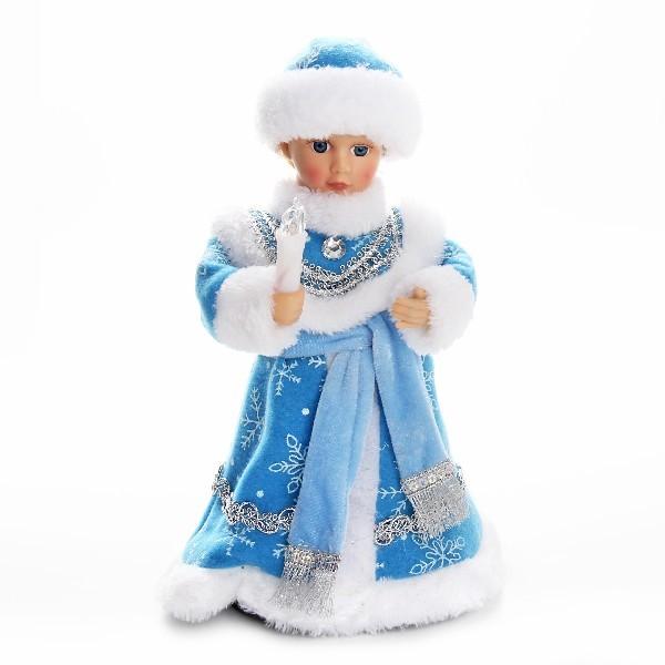 Снегурочка музыкальная 30см со свечой в голубой шубе купить оптом и в розницу