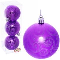 Новогодние шары 7 см (набор 3 шт) ″Рельефный узор″, фиолетовый купить оптом и в розницу