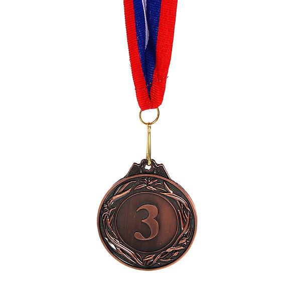 Медаль ″3″ - 3 место (металл, 5,4 см, лента триколор) купить оптом и в розницу