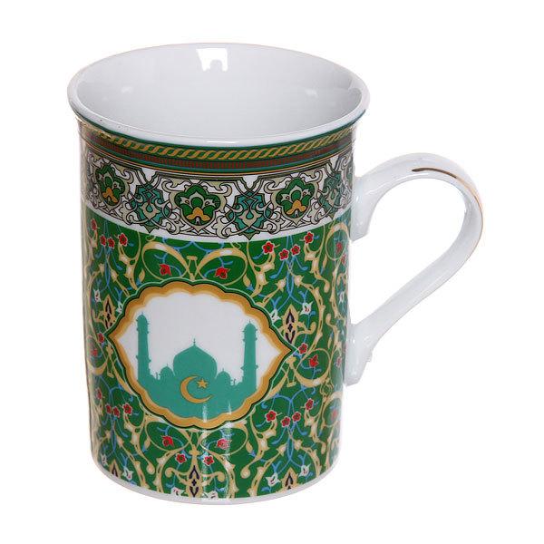 Кружка фарфоровая 320мл ″Мусульманская деколь″ зеленая купить оптом и в розницу