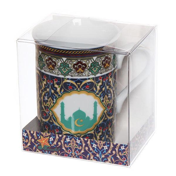 Кружка фарфоровая 320мл ″Мусульманская деколь″ синяя купить оптом и в розницу