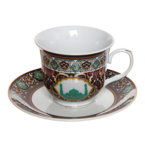 Чайный набор 2 предмета (кружка 220мл, блюдце) ″Мусульманская деколь″ бордовый купить оптом и в розницу