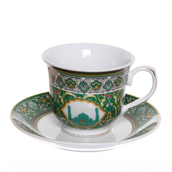 Чайный набор 2 предмета (кружка 220мл, блюдце) ″Мусульманская деколь″ зеленый купить оптом и в розницу