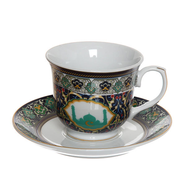 Чайный набор 2 предмета (кружка 220мл, блюдце) ″Мусульманская деколь″ синий купить оптом и в розницу