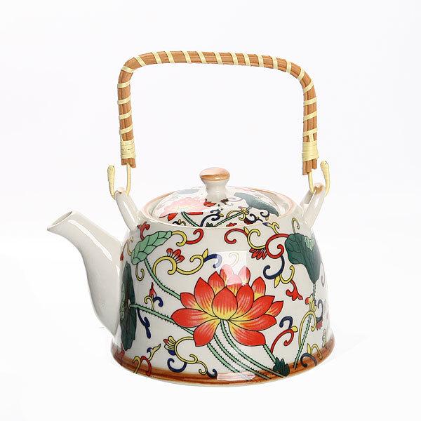 Чайник заварочный керамический 750 мл с ситом ″Лотосы-1″ купить оптом и в розницу