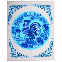 Полотенце вафельное 45*60см ″Петухи в бисере″ голубое купить оптом и в розницу