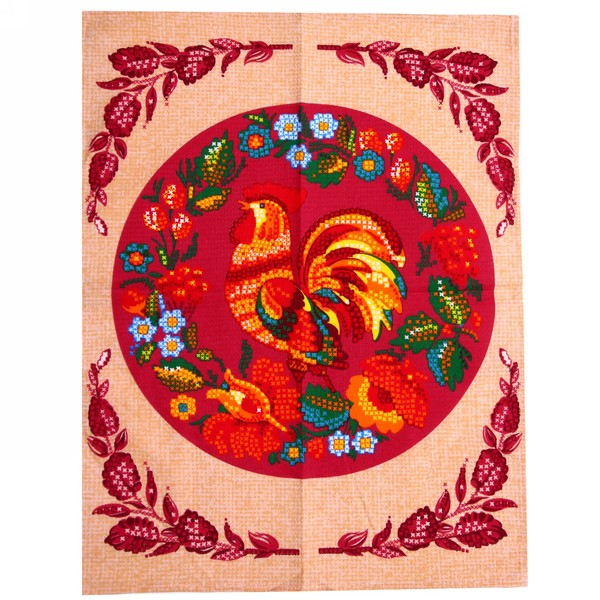 Полотенце вафельное 45*60см ″Петухи в бисере″ персиковое купить оптом и в розницу