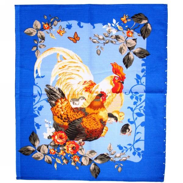 Полотенце вафельное 45*60см ″Год петуха″ синее купить оптом и в розницу