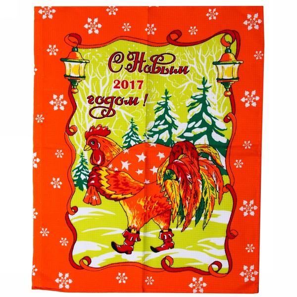 Полотенце вафельное 45*60см ″Зимние петухи″ оранжевое купить оптом и в розницу