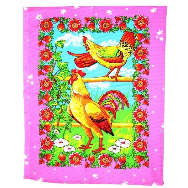 Полотенце вафельное 45*60см ″Летние петухи″ розовое купить оптом и в розницу
