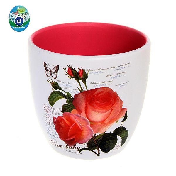 Кашпо для цветов садовое ″Роза″ 15х14см 13003-3 купить оптом и в розницу