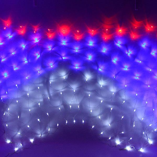 Сетка светодиодная 1,5 х 1,5 м, 180 ламп LED, Бело-сине-красная Флаг, 8 режимов, прозр.пров. купить оптом и в розницу