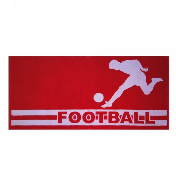 Махровое полотенце 50*100см красно-белое Футбол пестротканное пляжное ЖК100-4-123-066 купить оптом и в розницу