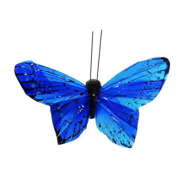 Украшение декоративное 9см Бабочка перо на магните 033-10