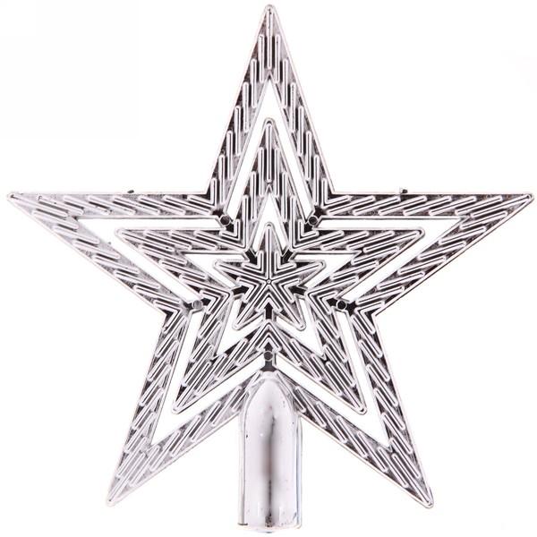 Звезда на ёлку серебро 9,5 см